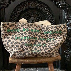 Marc jacobs leopard canvas zip top tote